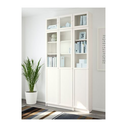 Ikea Billy Oxberg White Glass Bookcase Billy Oxberg - Billy Regal Zierleiste