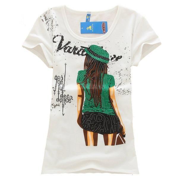 Print Loose Top Tees T-shirt   Furrple