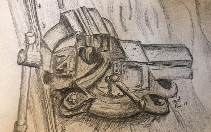 Original pencil sketch hand drawn graphite garage vise new ebay