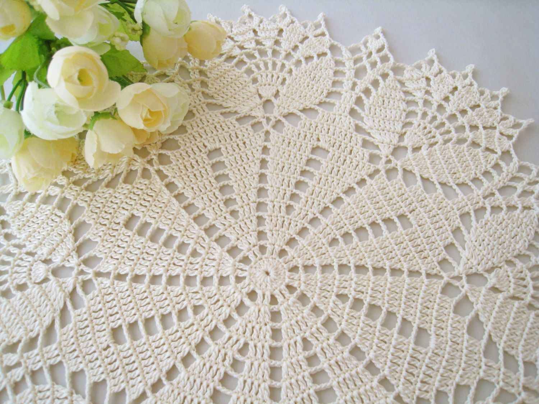 Decoration Crochet Tablecloth Pattern Handmade White Crochet ...