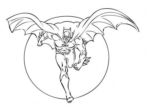 Batman Flying Wings Coloring Page