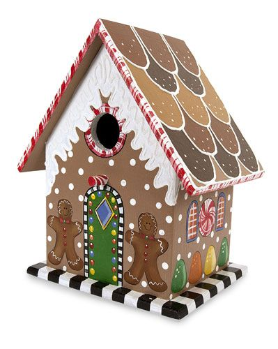 Gingerbread House Bird Houses Painted Holiday Birdhouses Decorative Bird Houses