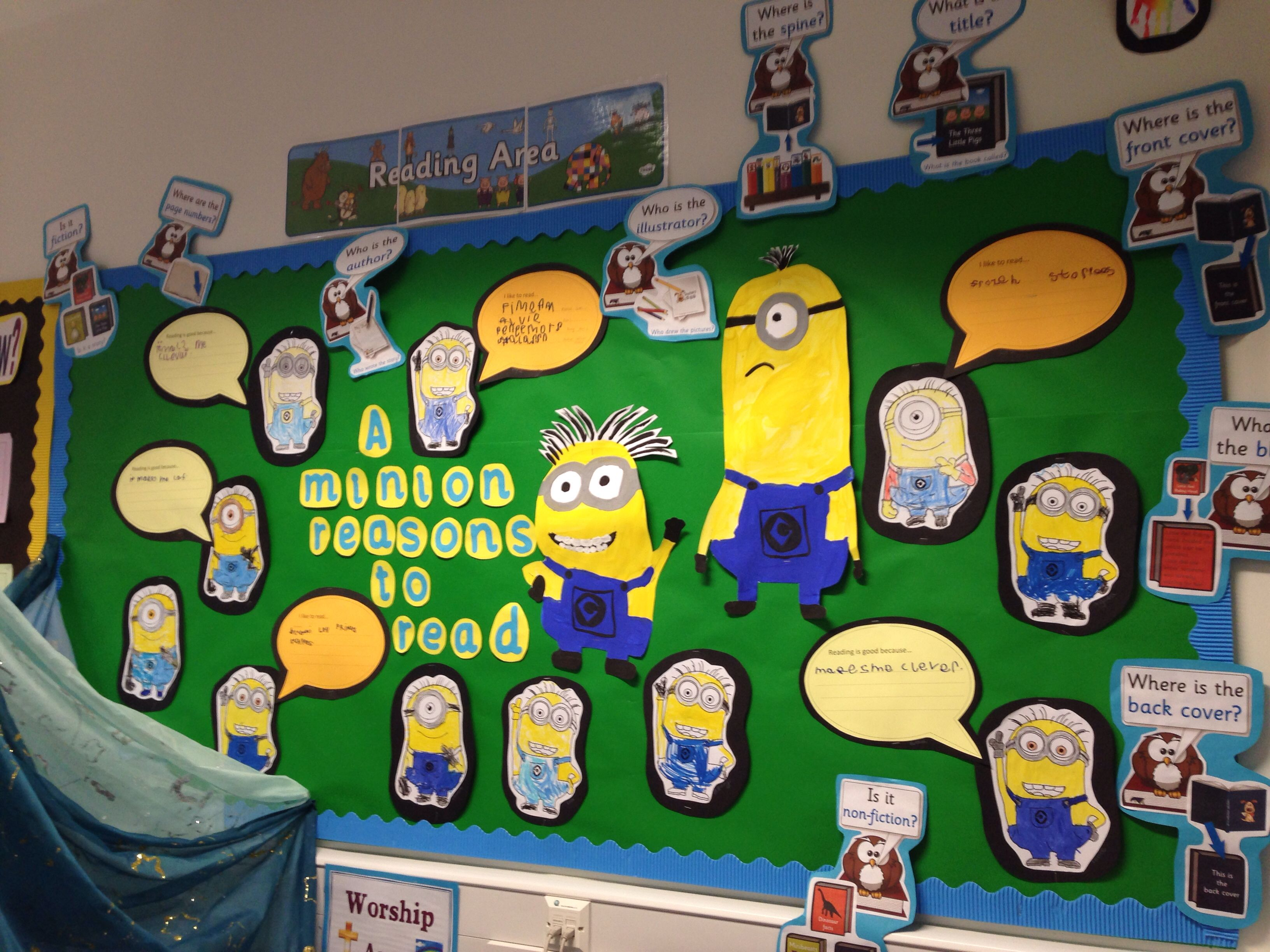 Classroom Ideas Ks1 ~ Minion display reception class reading area tuff spot