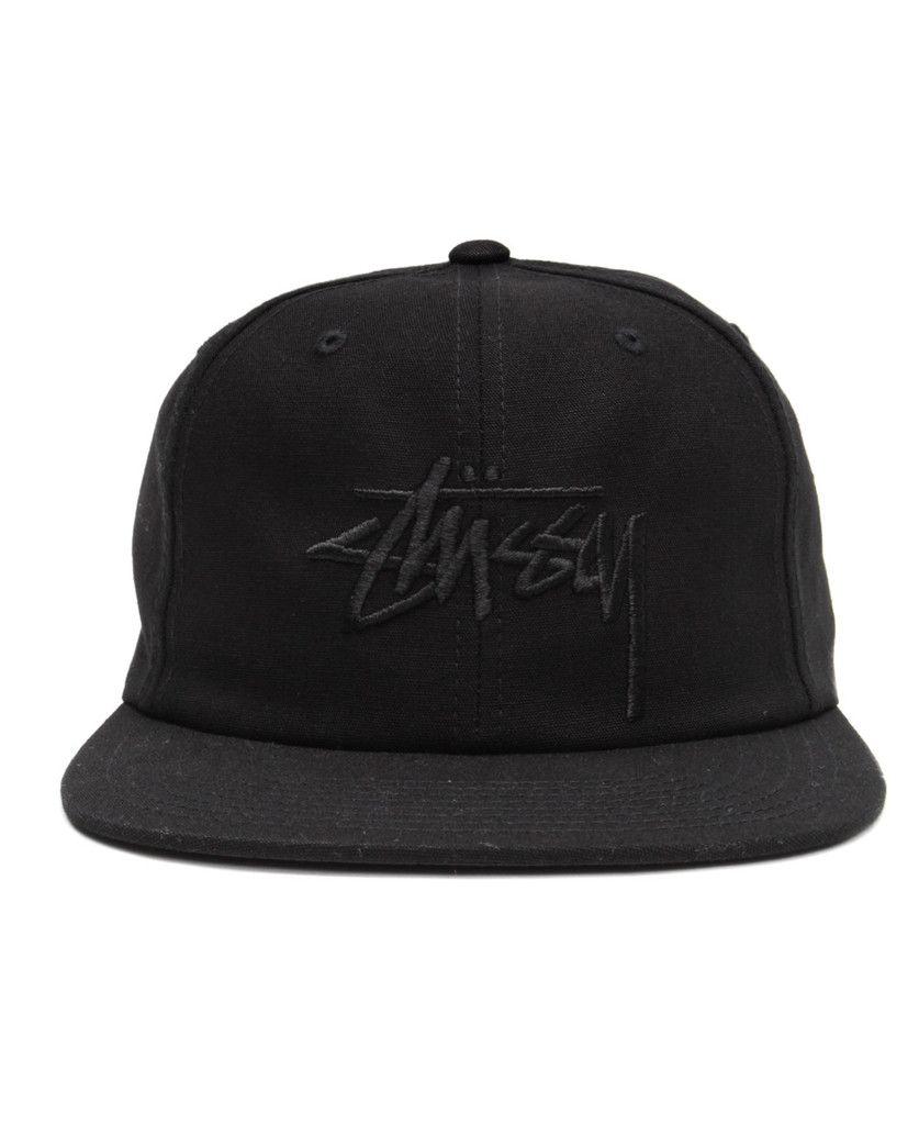 178d06b42be Stussy - Stock Canvas Snapback Cap (Black)