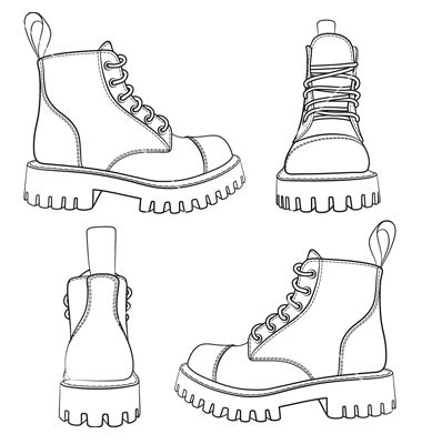 Photo of Set of drawings with boots isolated objects vector