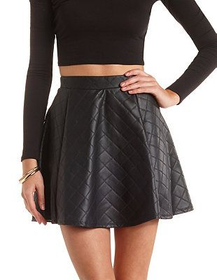 fd0d793812 Quilted Faux Leather Skater Skirt: Charlotte Russe   Public Closet ...
