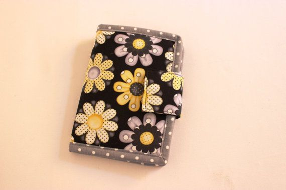 Fabric Bifold Billfold Wallet Purse Bee Happy Daisies Yellow Gray Grey and Black by Tracey Lipman, $38.00