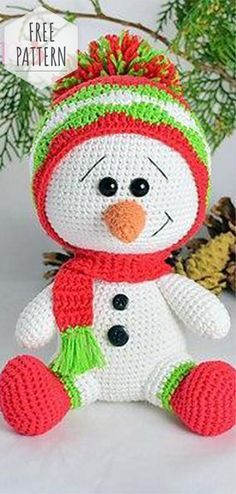 Free Pattern Amigurumi Snowman #amigurumifreepattern