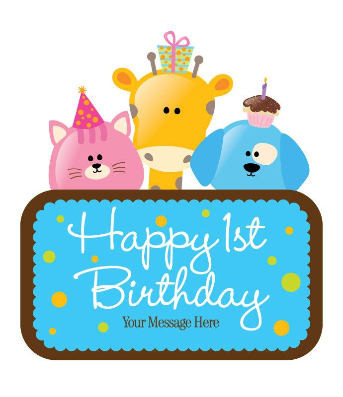 Kids Free Vector First Birthday Card Party Ideas Pinterest