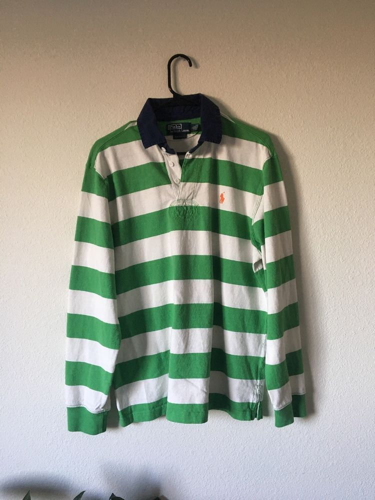 e0d72096 Vintage Ralph Lauren Polo Striped Rugby Shirt Green And White Striped Mens  Large #PoloSportRalphLauren #PoloRugby