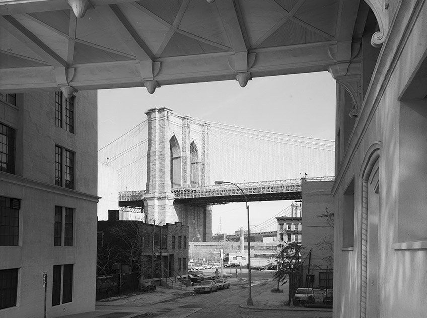 1982: This snapshot shows the Brooklyn Bridge, framed by the Watchtower building in Brooklyn Heights.