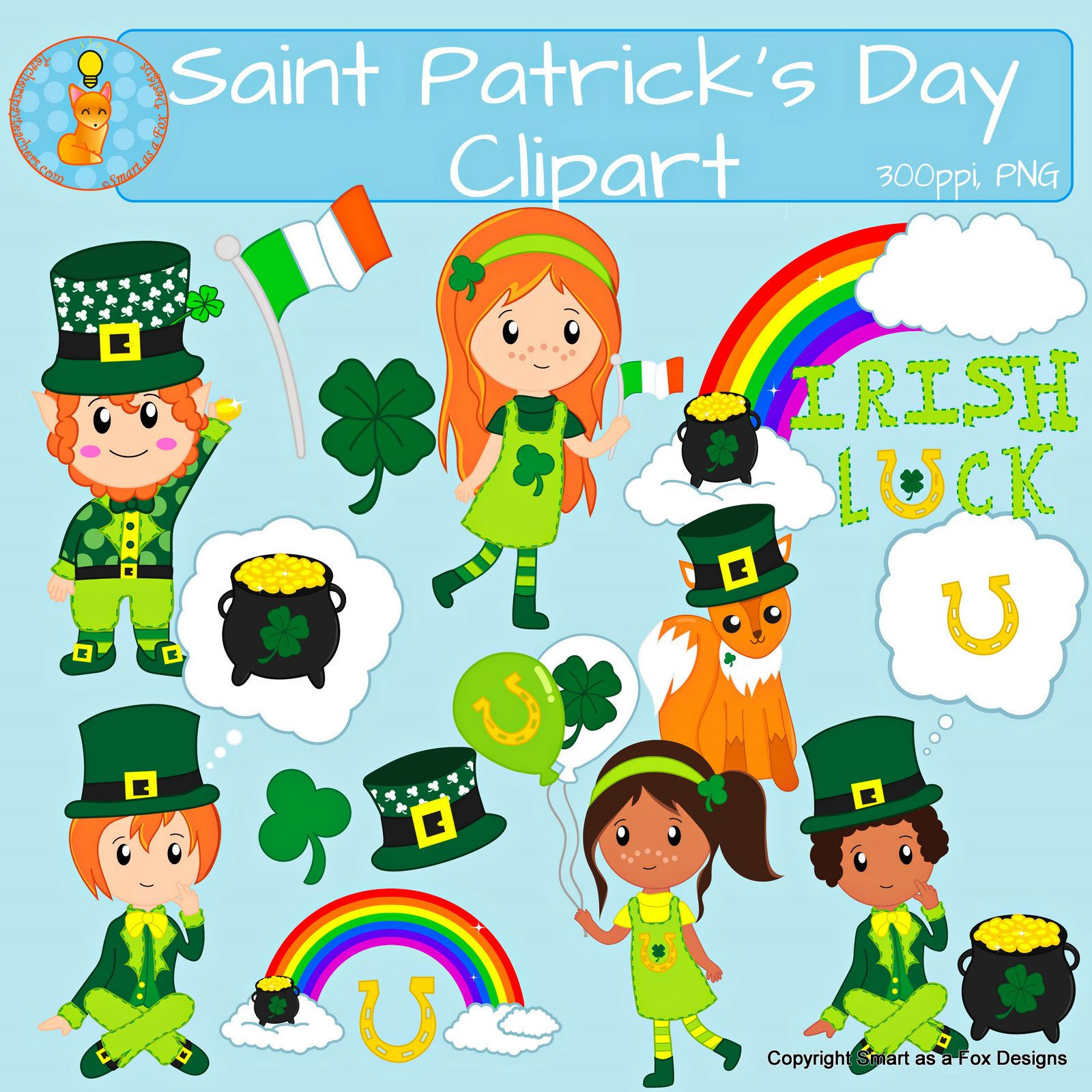 Clipart For Saint Patrick S Day By Smart As A Fox Designs Png 300 Ppi Transparent Background This Collection Contains Clip Art Fox Design St Patricks Day
