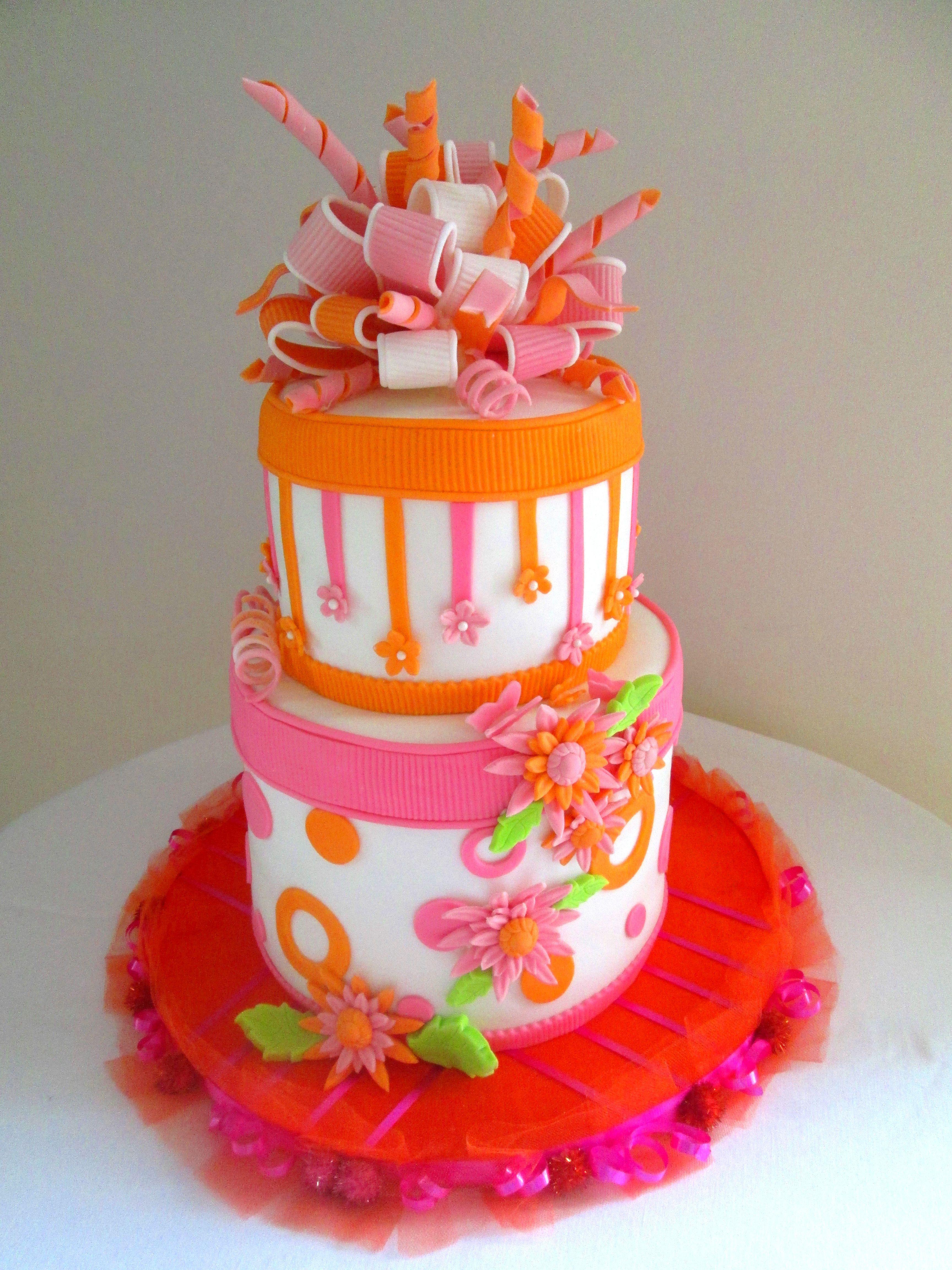 Pinkorange Baby Shower Cakes I Wanna Make Pinterest Cake