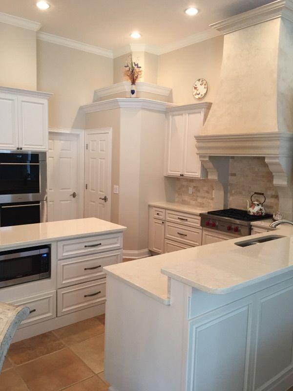 M Miller Kitchen After Lenox Canvas Cabinets Cambria Fairborne Countertops Inspirations Hardware In Weathered Nickel Backsplash 2x4 Travertine Mosaic