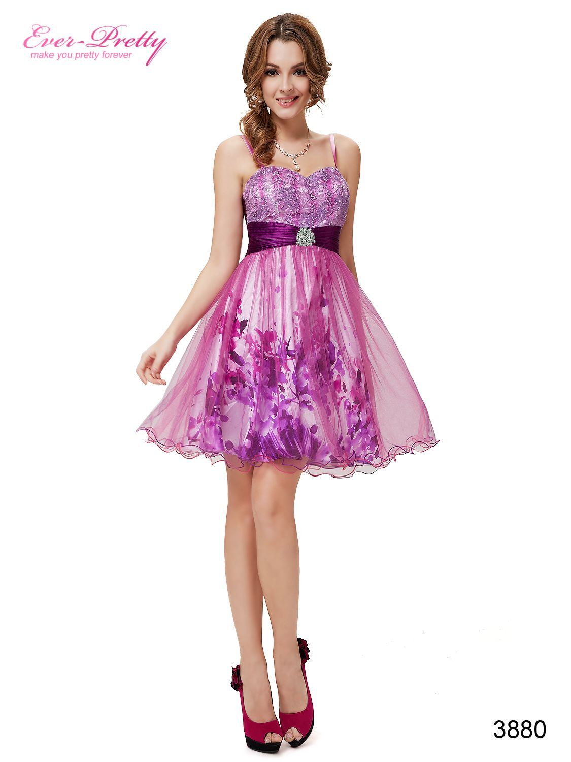 Ever Pretty Floral Hot Pink Sequins Spaghetti Straps Homecoming ...