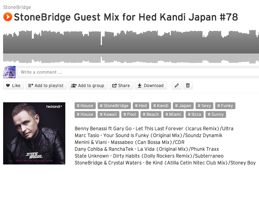 StoneBridge Hed Kandi Japan #78 is up https://soundcloud.com/stonebridge/stonebridge-guest-mix-for-74 with a groovy selection of sexy funk - check it!