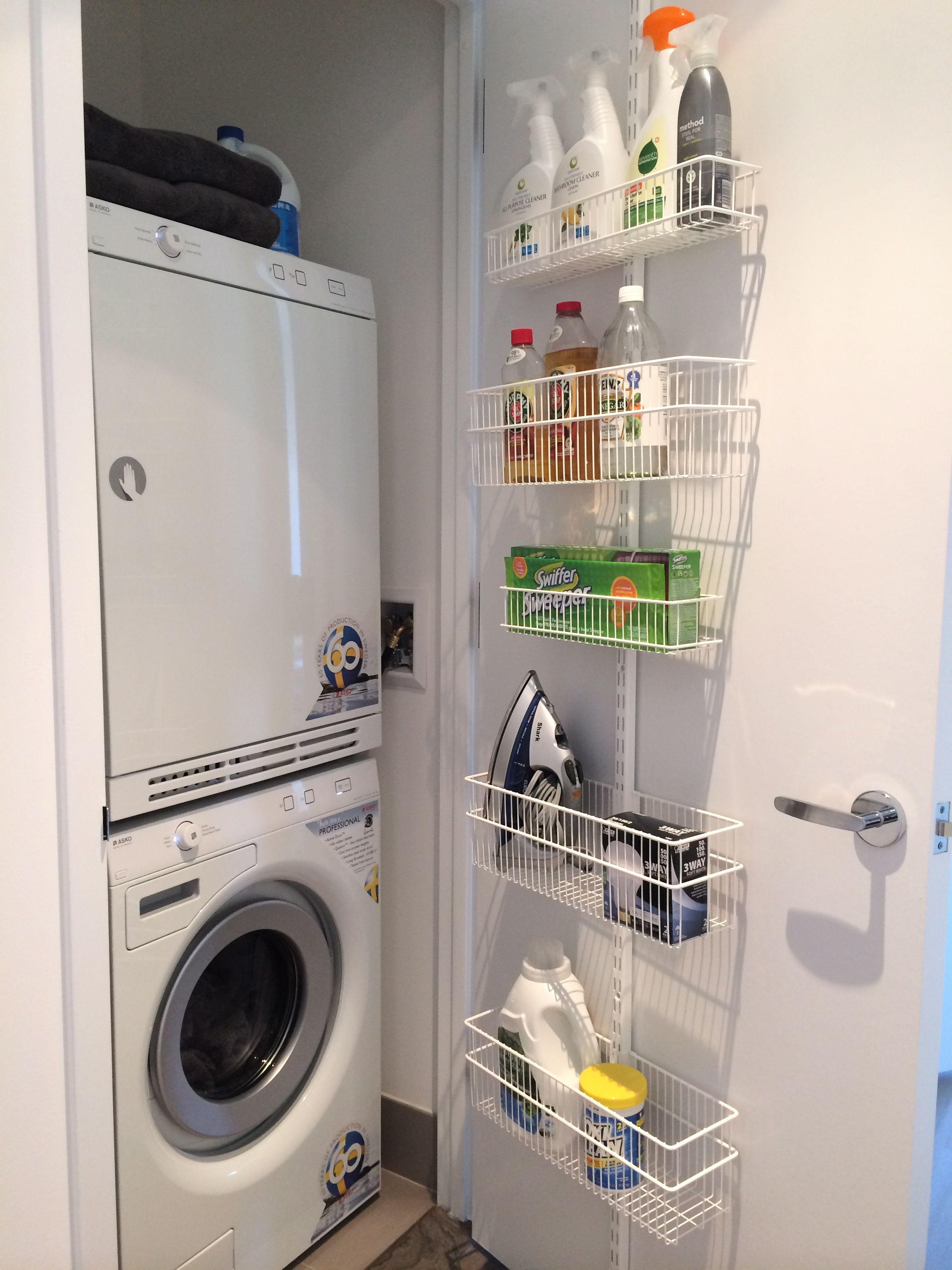 Elfa Door Rack To Create A Cleaning Closet By Laura Cattano Closet Door Storage Small Laundry Closet Laundry Room Organization