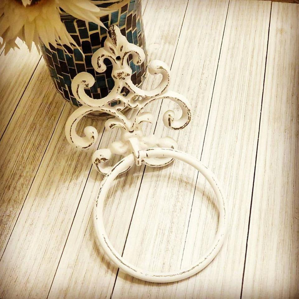 Ornate Farmhouse Hand Towel Ring Towel Ring Bathroom fixture Shabby Chic