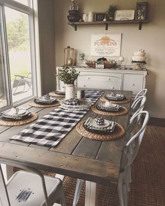 Farmhouse Dining Table With Metal Chairs