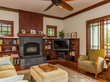 Love The Craftsman Accents Corner Tv Next To Fireplace Family Room Tv Stand Plans Brick Fireplace Makeover