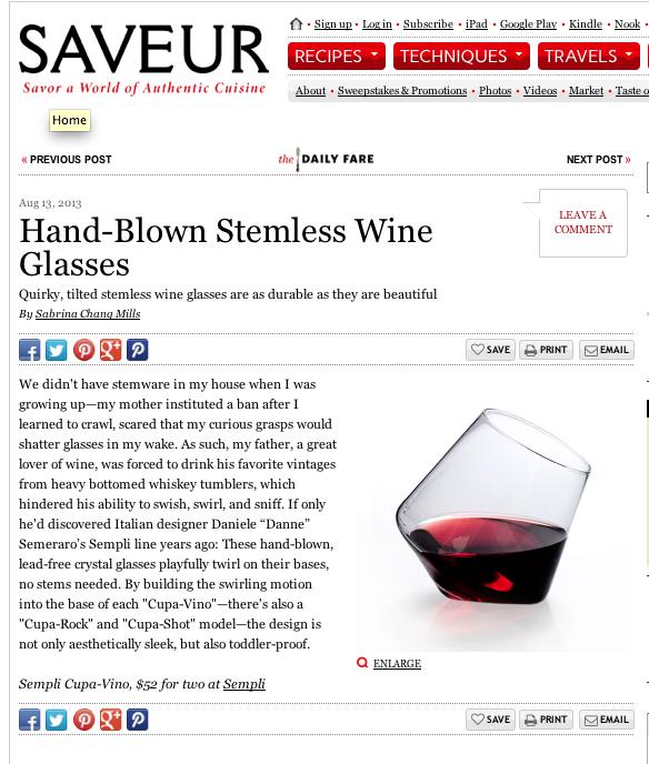 Hand-blown stemless #wine #glasses www.sempli.com @Saveur