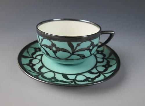 Antique/vintage Rosenthal Silver Overlay Porcelain Cup Saucer Art Deco German