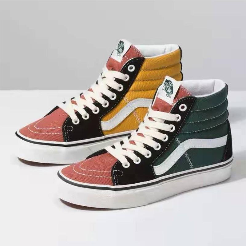 Vans Sk8 Hi Varsity Shoes Multicolor In 2020 Vans Shoes Women Vans Shoes High Tops Vans Shoes Girls
