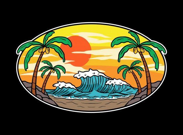 , Summer Waves And Sunset Beach Illustration, MySummer Combin Blog, MySummer Combin Blog