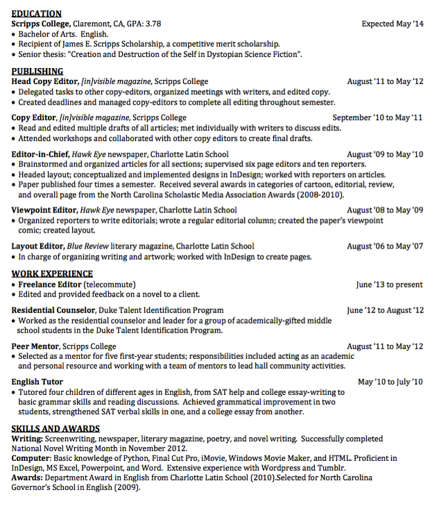 Pin by latifah on Example Resume CV | Copy editor, Resume examples