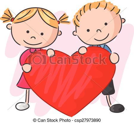 Ninos De Dibujos Animados Con Amor Ilustracion De Vectores De Ninos Pequenos De Cartoon Sosteniendo El Amor Ninos Dibujos Animados Dibujos Animados Dibujos