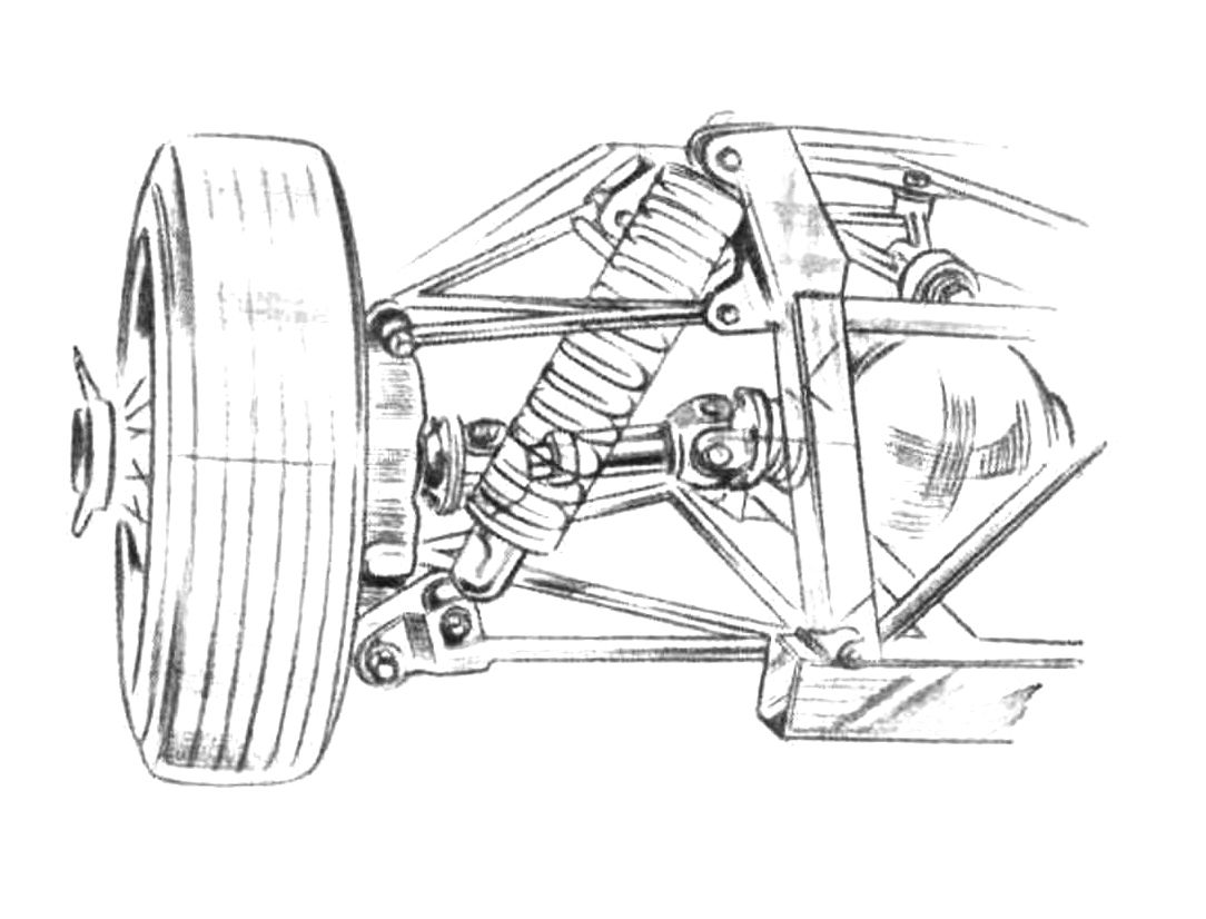 Elva Courier, double wishbone independent rear suspension  Artist