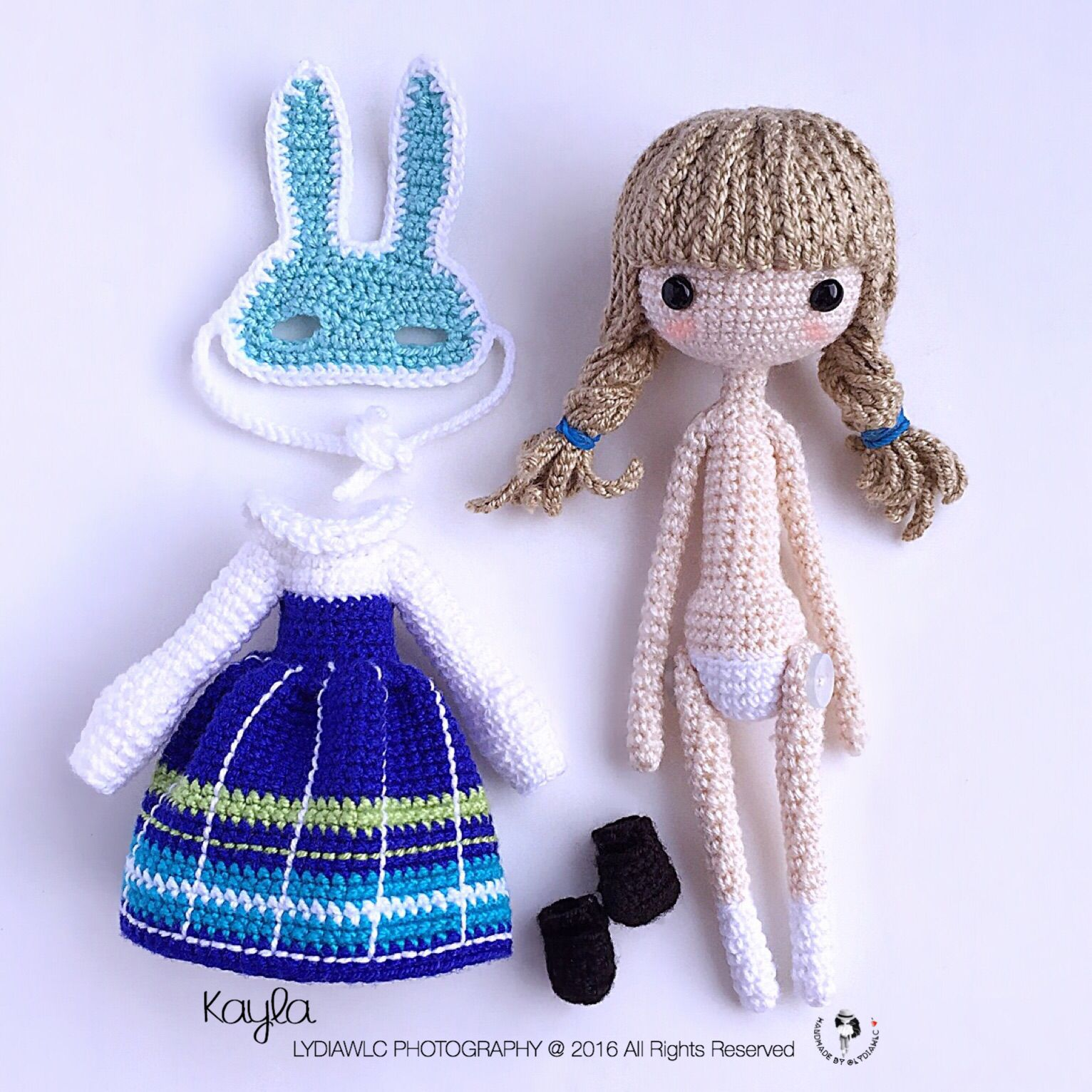 Amigurumi Pattern Dolls : Crochet Doll Pattern - Kayla ??. (Little Girl with Rabbit ...
