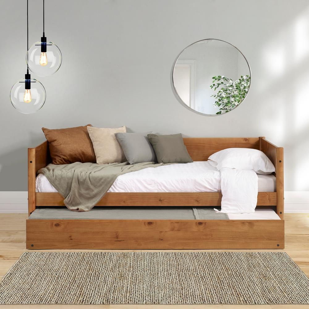 Camaflexi Mid Century Castanho Twin Size Daybed With Twin Size