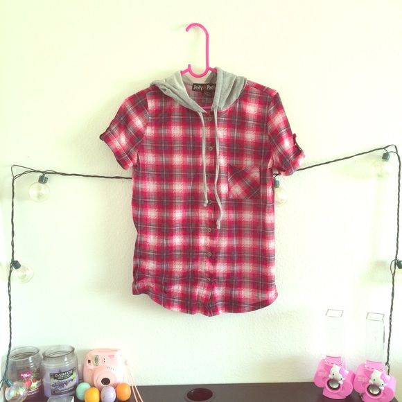 Plaid hoodie Buttons down shirt . It has a little grey hoodie Tops Button Down Shirts