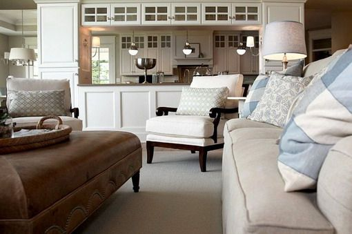 Brown And White Seating In Classic Living Room Best And Unforgettable Living Room Designs Home Living Room Kitchen Transitional Living Rooms