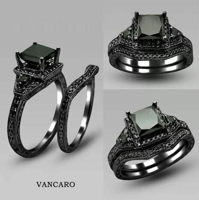 vancaro black gold wedding and engagement ring - Black Wedding Ring Sets