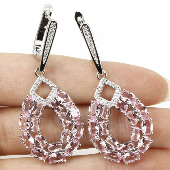 Long Drop Pink Kunzite, White CZ SheCrown  Woman's Wedding  Silver Earrings 50x21mm