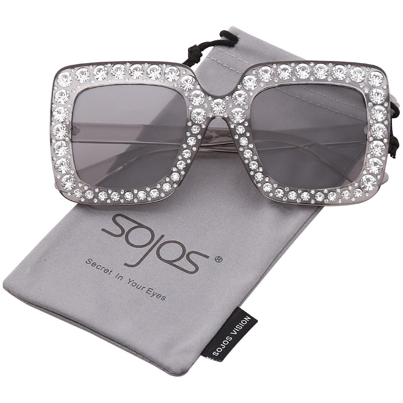 761531c5a76f Crystal Oversized Square Brand Designer Sunglasses for Women SJ2053 ...
