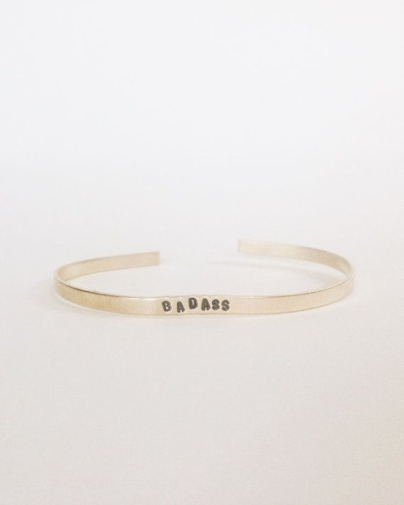 magasin d'usine conception adroite vente chaude authentique BADASS Skinny Handstamped Gold Cuff This cheeky handstamped ...