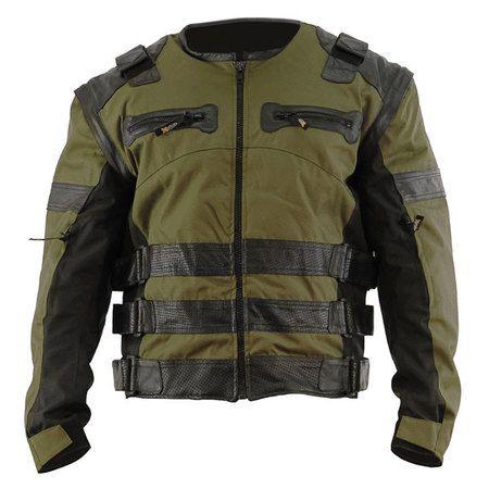 Men's Asylum Dark Green Motorcycle Jacket | Adventure bike ...