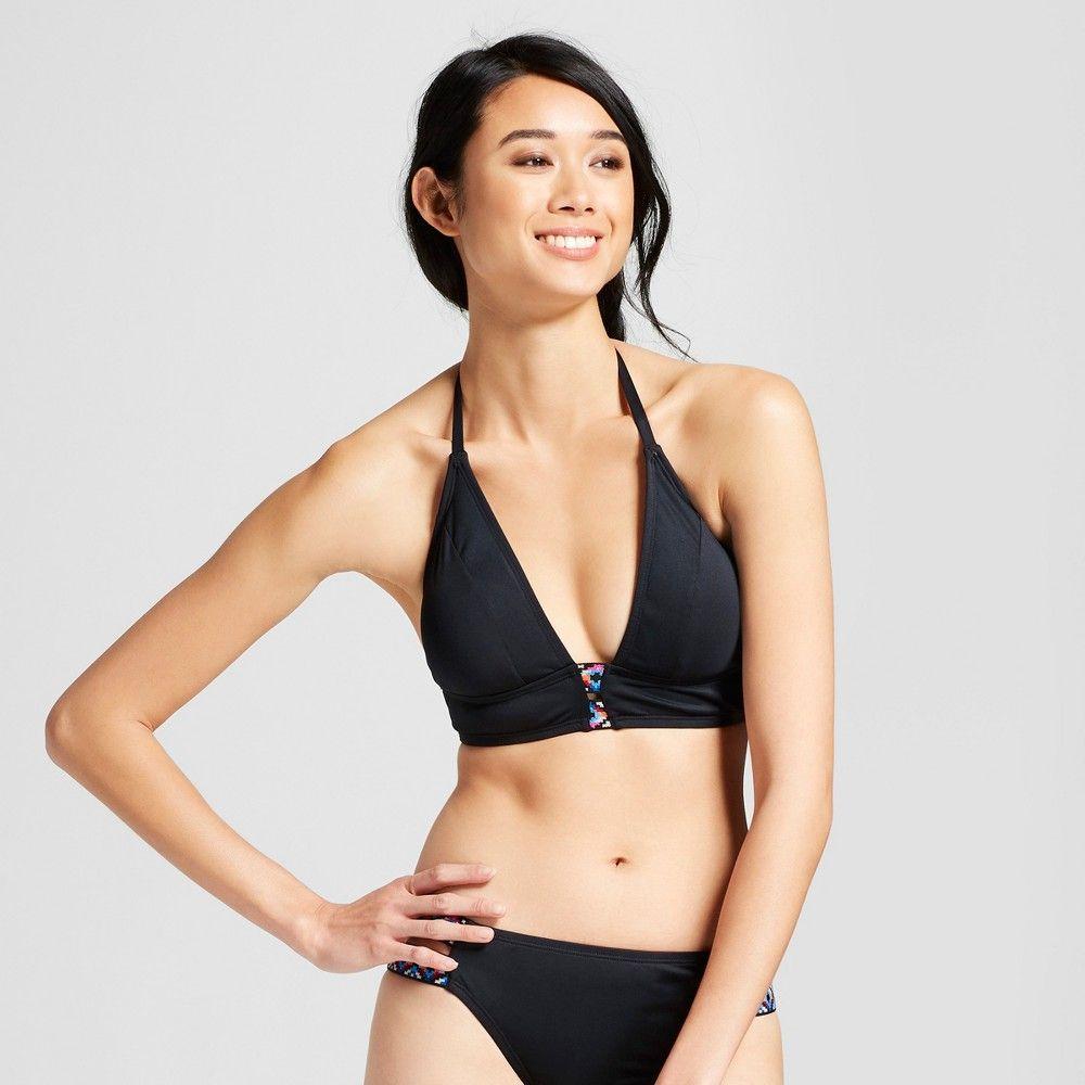 640925ab9455c Clean water Women s Tribal Trim Bralette Bikini Swim Tops - Black S ...