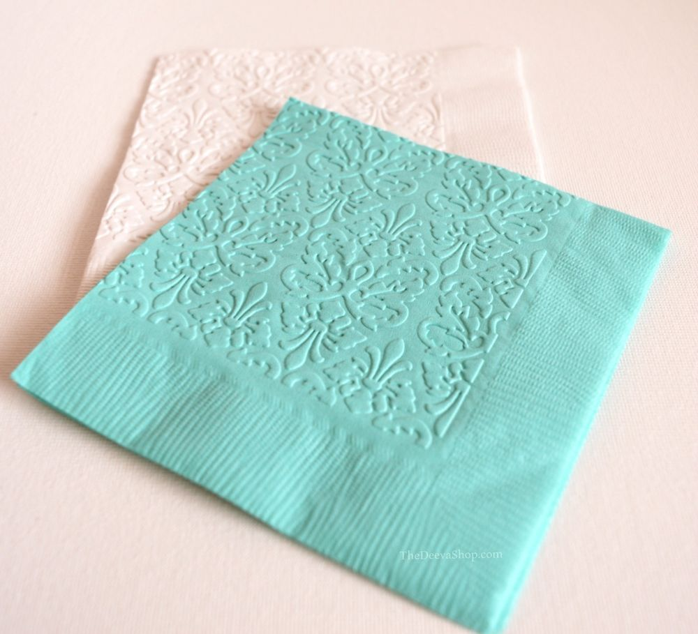 Brocade Embossed Cocktail Paper Napkins Tiffany Blue Wedding 25 Pcs