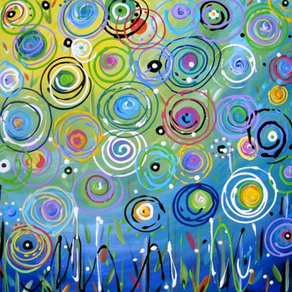 Original Abstract Floral Painting Circles Bright Colored Acrylic