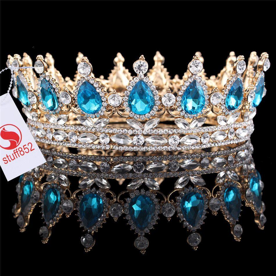 "Rhinestone Hot 2"" High Gold Plated Blue Stone Wedding Crystal Alloy Hair  Tiaras  Crown 5c9779e842b1"