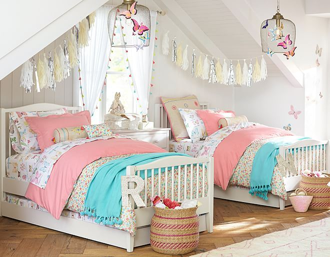 7 Inspiring Kid Room Color Options For Your Little Ones: I Love The Pottery Barn Kids Jenni Kayne Floral Bedroom On