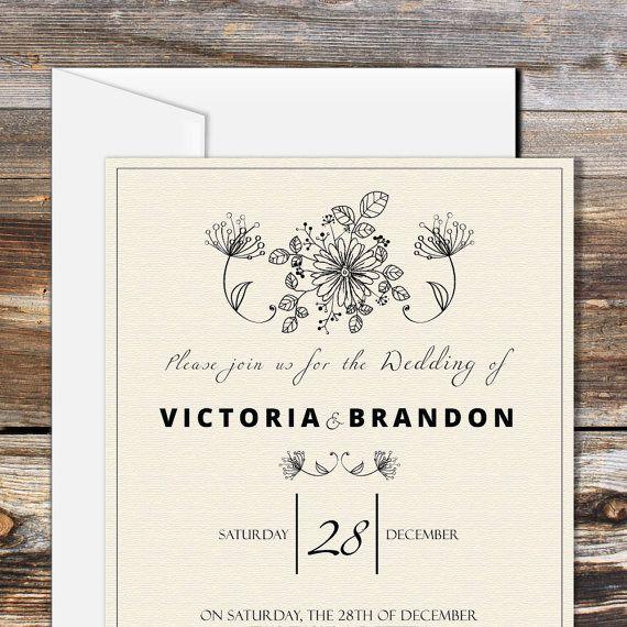 Conjunto invitación de boda DIY, boda plantilla Set, tarjeta de RSVP ...