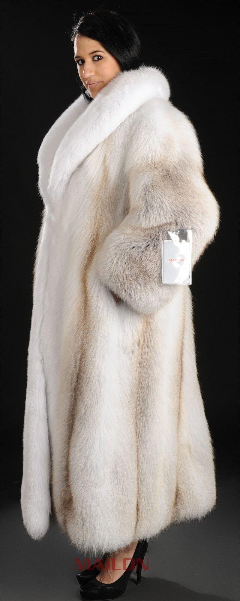 0eb08458fc27 SAGA ROYAL Golden Island Shadow Full Length Fox Fur Coat with White Fox  Collar and Tuxedo