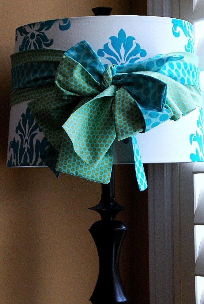 Fancy lampshade with stenciling & fabric bow #nursery #girl