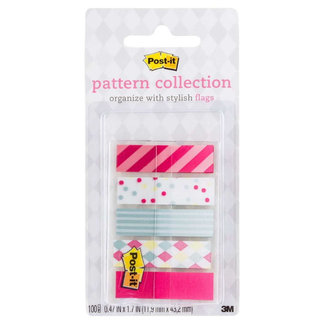 2 Pack POST-IT® Stylish Pattern Flag Index Tabs 5 Designs 100 Flags Per Pack.