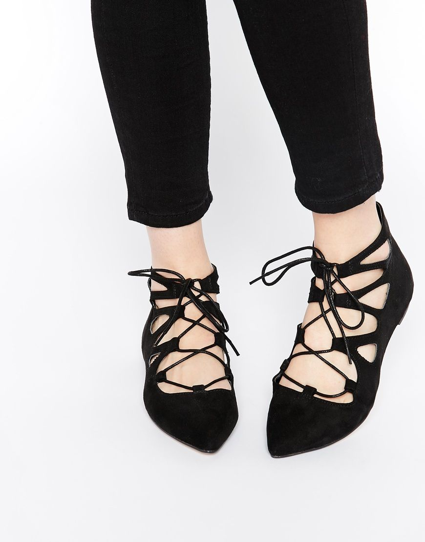 ASOS LANA Pointed Lace Up Ballet Flats at asos.com